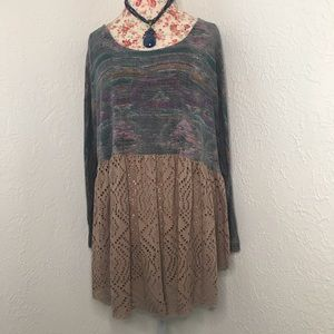 Free People Teal and Purple Aztec Eyelet Tunic